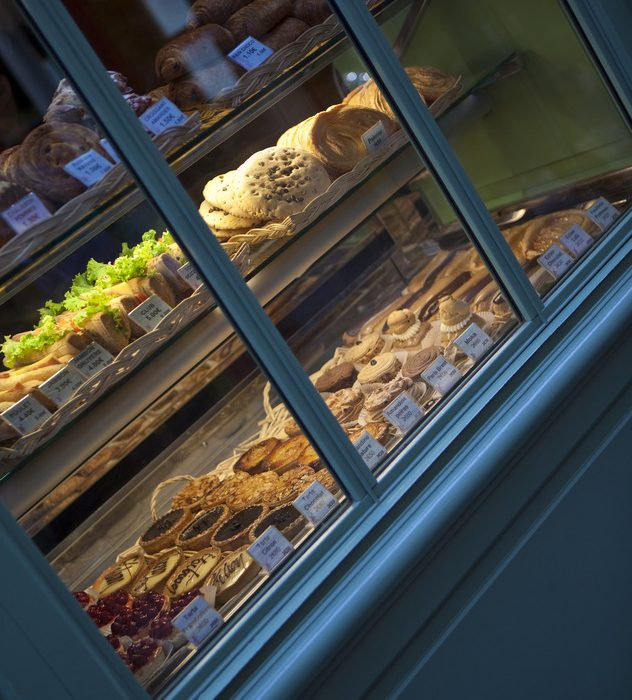 Window of a French bakery in Paris