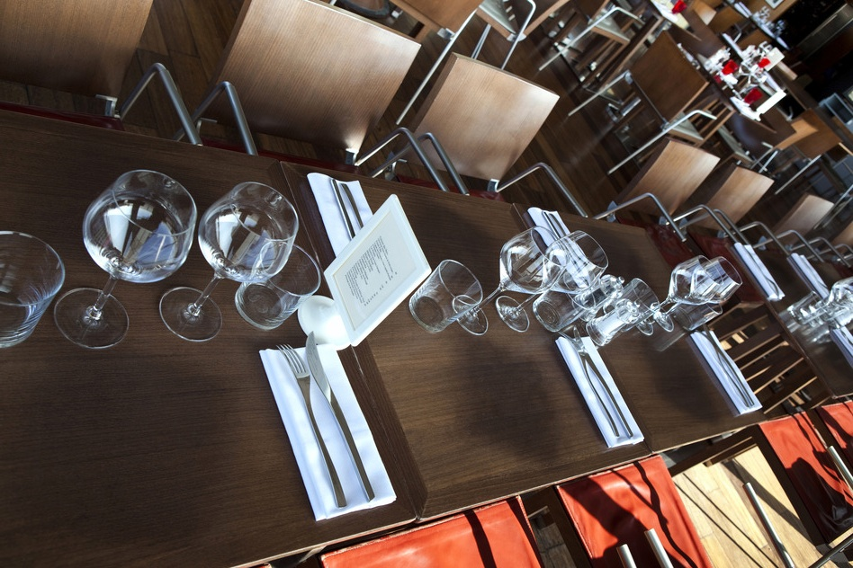 Table set up in a stylish restaurant
